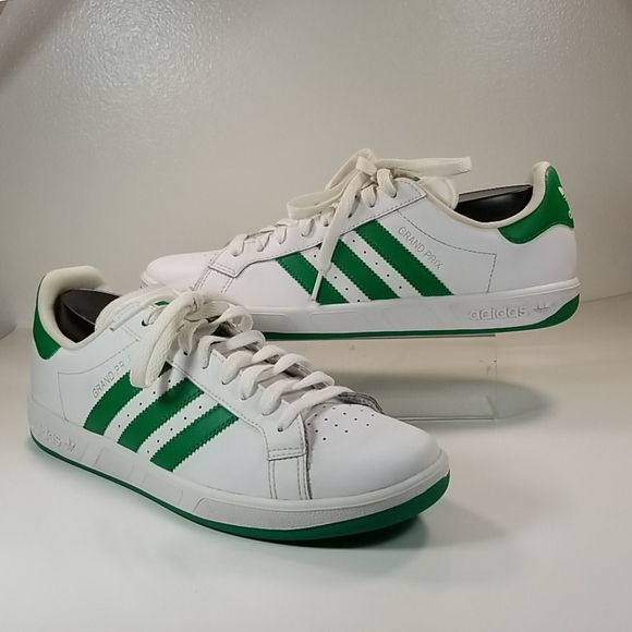 ADIDAS mens sneakers GRAND PRIX size-9 WHITE/GREEN